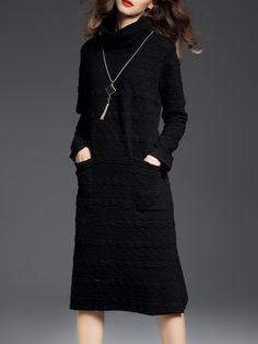 Shop Midi Dresses - Black Casual Cotton-blend Plain Midi Dress online. Discover unique designers fashion at StyleWe.com.