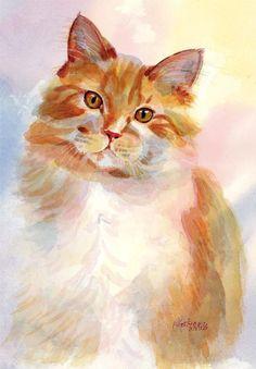 Cat Pamela Gatens WATERCOLOR #CatWatercolor