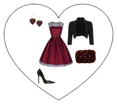 """Queen of hearts"" by carlacbr ❤ liked on Polyvore featuring Phase Eight, Jimmy Choo, Alexis Bittar, Alice + Olivia, black, red, heart, reddress and redandblack"
