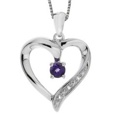 """Sterling Silver Amethyst and White Topaz Heart Pendant Necklace, 18"""" Amazon Curated Collection. $35.99. Made in China"""