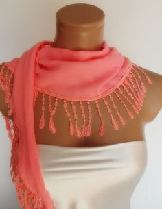 New Design Pashmina scarf with lace coral by smilingpoet on Etsy, $18.90
