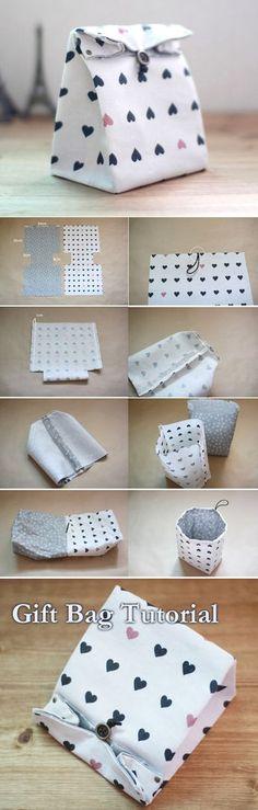 Fabric Gift Bag Tutorial http://www.handmadiya.com/2015/10/fabric-gift-bag-tutorial.html