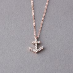 $38 - rose and white gold anchor necklace from kellin silver
