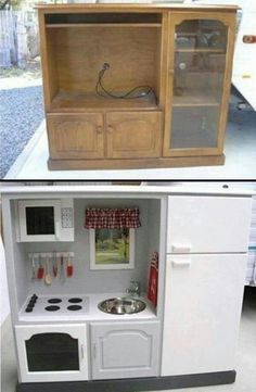 Old entertainment unit refurbished into a kitchen center for a kid!!! This may be the best idea I have ever seen!!