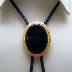 Vintage Elegant Gold Metal and Black Lucite Bolo Tie by PandPF