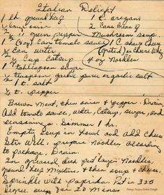 Italian Delight - Vintage Handwritten Recipe a great one dish meal. Retro Recipes, Old Recipes, Entree Recipes, Vintage Recipes, Cookbook Recipes, Snack Recipes, Cooking Recipes, Old Italian Recipes, Cooking Tips