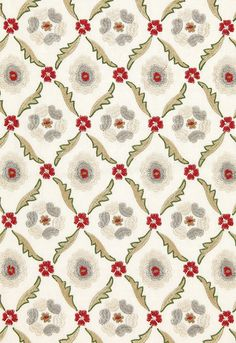 Fabric | Claremont Embroidery in Crimson | Schumacher#65740 So fun!