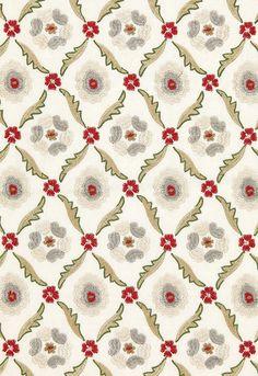 Fabric   Claremont Embroidery in Crimson   Schumacher#65740 So fun!