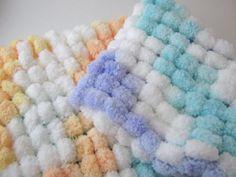Pom Pom Blanket  Bucket Basket Liner  Newborn Photo Prop by Jestti, $23.00