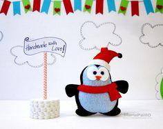 Felt Christmas Penguin, Handmade Felt Penguin Christmas Ornament, Ready To Ship, R020