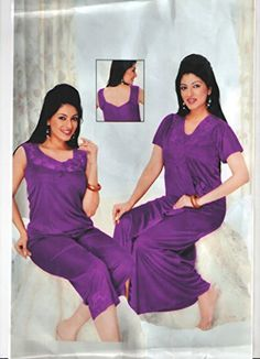 ... Indiatrendzs Womens Sexy Hot Nighty Dark Purple 3pc Set Bedroom  Sleepwear Freesize  new concept 59090 f20bc Babydoll Lingerie 29da7ced9