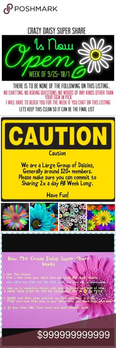 Sign In Closes Monday 9/25 @ Noon PST ✂️Please NO CHATTING/Questions/Etc on this Listing. Sign In ONLY!✂️🎉🎉Kim @krichards620 Is our CO-GARDNER!!🎉🎉 Welcome to one of the Largest and Fastest growing Share Groups on Posh. We are a Large group of women dedicated to sharing Closets, Knowledge, and Friendship. We regularly have over 120 closets, but only ask that you Like everyones Pick and Share 2x a day. Super Easy. All closet sizes welcome. All we ask is you honor your commitment of…