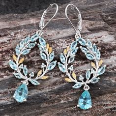 Madagascar Paraiba Apatite 14K YG and Platinum Over Sterling Silver Lever Back Earrings TGW 6.04 Cts.