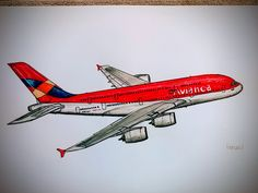 Abstract Watercolor, Watercolor Paintings, Airplane Coloring Pages, Airplane Drawing, Air Planes, Pencil Art, Colored Pencils, Artworks, Bb