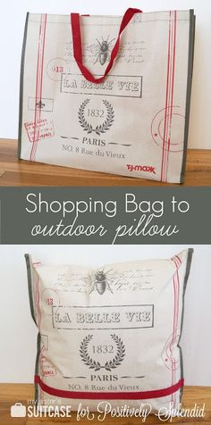 Positively Splendid {Crafts, Sewing, Recipes and Home Decor}: Outdoor Pillow from a Shopping Bag. I have the same bag and was planning on turning it into an outdoor pillow. Sewing Projects For Guys, Craft Projects, Craft Ideas, Ribbon Projects, Project Ideas, Diy Ideas, Reusable Shopping Bags, Reusable Bags, Outdoor Cushions