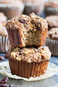 These paleo muffins are loaded with cinnamon flavor, studded with juicy raisins and topped with the perfect cinnamon crumble! Make them with your kids for a fun breakfast treat or snack – they're grain free, dairy free, refined sugar free and delicious!