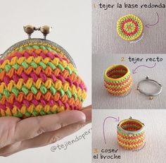 Monedero con broche tejido a crochet en punto frijol Paso a paso con video, fotos e instrucciones escritas! Crochet Wallet, Crochet Coin Purse, Crochet Cord, Crochet Diy, Crochet Purses, Crochet Crafts, Coin Purse Pattern, Purse Patterns, Crochet Designs