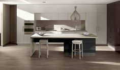 Island benchtop and back benchtop Formica Silver Travertine Matt finish. Kitchen Time, Kitchen Dining, Kitchen Decor, Dining Table, Kitchen Ideas, Kitchen Layout, Kitchen Interior, House Colors, Home Remodeling
