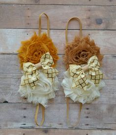 Fall Shabby Flower headbands with a Bow Accent