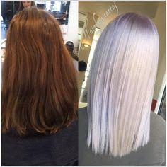 """Anette J. på Instagram: """"Silver lilac  #beforeandafter #wella #wellaeducation #wellalife #wellahair #hairofinstagram #hairoftheday #haironfleek #hair #transformation #btconeshot_transformations16 #behindthechair #btcpics #readyforsummer #silverhair #purplehair #pastelhair #blondor #hår #frisørkøbenhavn #frisørfrederiksberg #olaplex #olaplexlove #olaplexdanmark #hairtransformation #darktoblonde CUT/COLOR by me"""""""