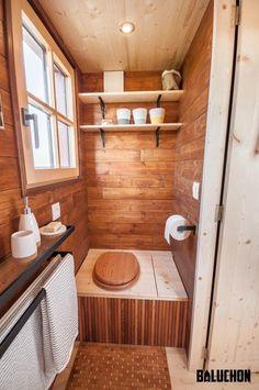 """""""Holz Hisla"""" Tiny Home on Wheels by Tiny House Baluchon Tiny House Movement // Tiny Living // Tiny House on Wheels // Tiny House Toilet // Tiny Home Bathroom // Tiny Home // Architecture // Home Decor Small Tiny House, Tiny House Living, Tiny House Plans, Tiny House On Wheels, Tiny House Design, Tiny House Bathroom, Small Bathroom, Outdoor Toilet, Composting Toilet"""