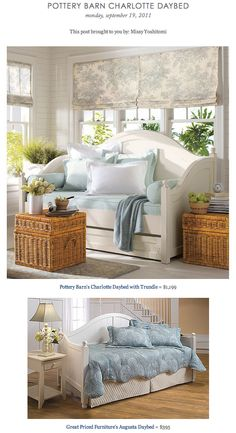 COPY CAT CHIC FIND: Pottery Barn's Charlotte Daybed with Trundle vs. Great Priced Furniture's Augusta Daybed
