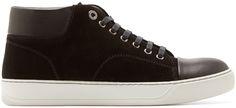 Lanvin: Black Suede Mid-Top Sneakers   SSENSE