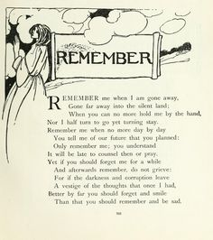 Sandie Goble's Printable Heaven Blog: Remember by Christini Rossetti