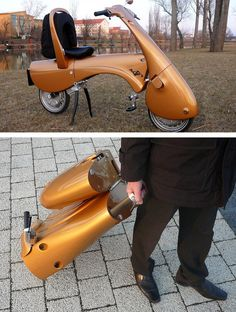 No parking spaces? Don't worry, this electric scooter folds into a briefcase. I WANT!!!!!!!!!!!!!!