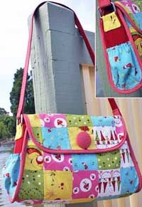 Delicious fabric and a convenient side pocket for that cellphone! Patchwork Bags, Quilted Bag, Handbag Patterns, Fabric Bags, Tote Purse, Tote Bags, Beautiful Bags, Bag Making, Purses And Bags