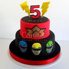 Power Ranger Cake Tortas Power Rangers, Bolo Power Rangers, Power Rangers Birthday Cake, Pink Power Rangers, Pawer Rangers, Power Ranger Samurai, Power Ranger Cake, Power Ranger Party, Superhero Birthday Party
