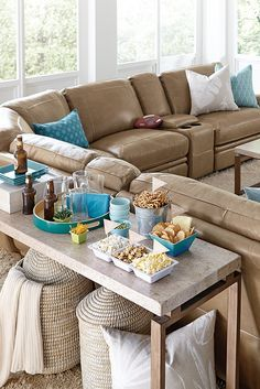 Sectional Sofas The Havertys Bentley reclining sectional scores big points in any living room or TV room Shown in a latte colored leather the Bentley sofa is a great