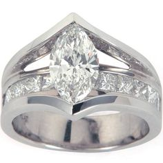 Marquise Diamond Engagement Ring Floating With Princess Cut Channel Set Shank - Style # GS17