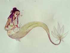It's #MelaninMerfolkMonth REAL MERMS SMOKE SEAWEED! @Regranned from @themeltingmoon - Weed mermaid  #weed #mermaid #mermay2017 #artistofinstagram #art - #regrann #blackhistorymonth #mermaids