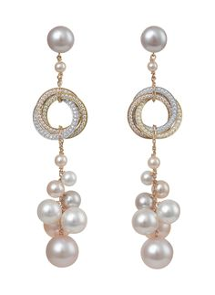 Earrings in Gold with Diamond Pave with Colored Pearls by Cartier, Trinity Collection High Jewelry, Bling Jewelry, Pearl Jewelry, Jewelry Box, Jewelry Accessories, Jewelry Design, Jewellery, Skull Jewelry, Hippie Jewelry
