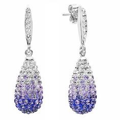 Sterling Silver Purple Crystal Dangle Earrings made with Swarovski Elements
