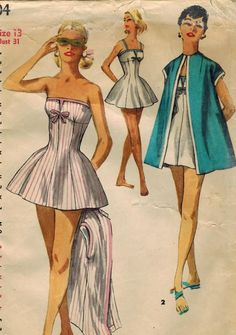 1956 Simplicity 1604 Vintage Sewing Pattern Junior Misses Bathing Suit and Beach Coat