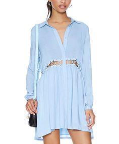 Light Blue Long Sleeve Convertible Collar Waist Cutout Pleated Mini Dress