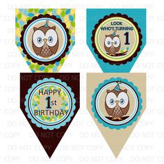 Printable DIY Owl First Birthday Theme by onelovedesignsllc, $6.00
