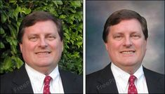 Before and after - portrait face retouching and photo background change.