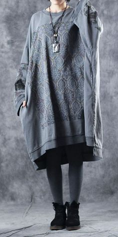 d0cf402c7d2d Vintage Loose Print Cotton Fleece Dresses For Women W4750