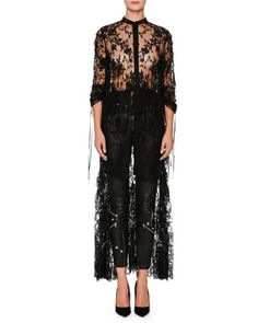 Sheer+High-Low+Drawstring+Sarabande+Lace+Top+by+Alexander+McQueen+at+Neiman+Marcus.