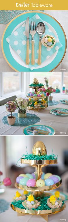 Easter décor is all about eggs,  so outfit your holiday table in robin's egg blue! Lay woven placemats to start, followed by gold trimmed tableware, flatware and polka dotted napkins. Keep your tablescape on theme with spring inspired décor courtesy of our partners at Babble: https://www.pinterest.com/babble/