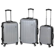 National Traveler 3-Piece Expandable Upright Spinner Set - Grey Set includes 28, 24 and 20 spinner. Lightweight. Expands 2. Comes with built in lock. Carry handles on top and side for easy lifting.  #NationalTraveler #Apparel
