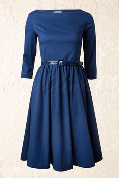 Lindy Bop - 50s Audrey Hepburn Style Swing Dress in Midnight Blue