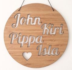 This beautiful customised family name plaque is perfect for your home, or given as a unique gift. The largest of our round plaques, and from eco-friendly planta