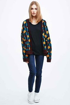 Cooperative Cube Jacquard Cardigan - Urban Outfitters