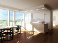 kitchen room | The living rooms and open kitchens of On Prospect Park have 4in-wide #kitchenroomideas #kitchenroom ...