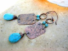 copper hammered earrings with turquoise by EdisLittleTreasures, $34.00