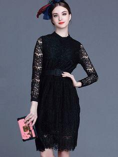Black Round Neck Long Sleeve Drawstring Lace Dress